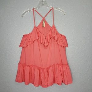 Free People Coral Orange Ruffle Beaded Top Size M